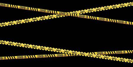 Strips of quarantine, coronavirus tape border. Set of warning coronavirus stripes. Isolated on black background.