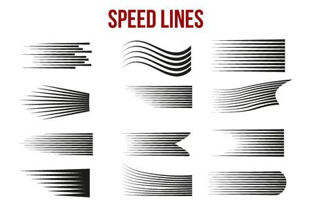 Speed line on white background for comic books. Manga speed frame, action, explosion background. 일러스트