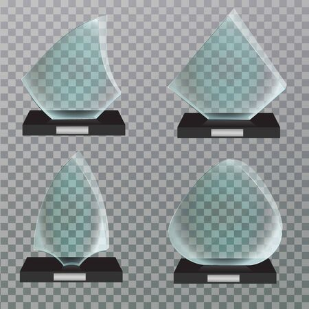 Set of glass Award template isolated on transparent background. winner podium plate.