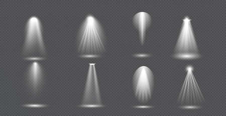 Scene illumination big collection, concert lighting, stage spotlights. Spot lighting of the stage. Transparent Special effect for your design Векторная Иллюстрация