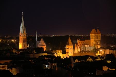 torun: The night scenes of Torun  Poland   Stock Photo