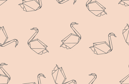 Japanese origami bird seamless pattern