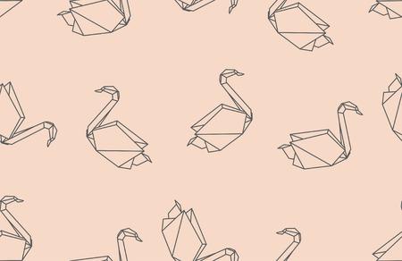 origami oiseau: Origami japonais oiseau seamless