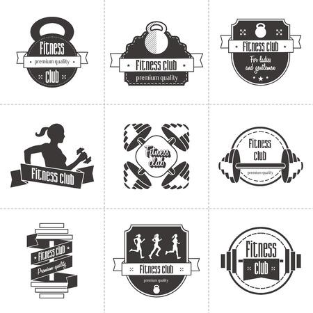 fit: Vector conjunto de los deportes y fitness club icono, etiquetas atl�ticos y plantillas insignias. Gimnasio, culturista, el hombre en forma, icono de atleta. Se puede utilizar para el dise�o de tarjetas de visita, escaparates, carteles, folletos, etc.