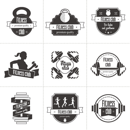 Vector set of sports and fitness club icon, athletic labels and badges templates. Gym, bodybuilder, fit man, athlete icon. Can be used to design business cards, shop windows, posters, flyers, etc. Ilustração