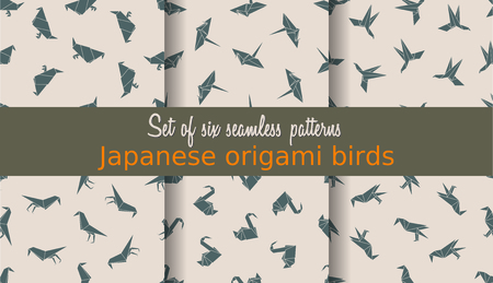 crane origami: Vector set of seamless patterns. Can be used for web page backgrounds, surface textures, background on business cards or poster, wallpapers, print on textiles. Illustration