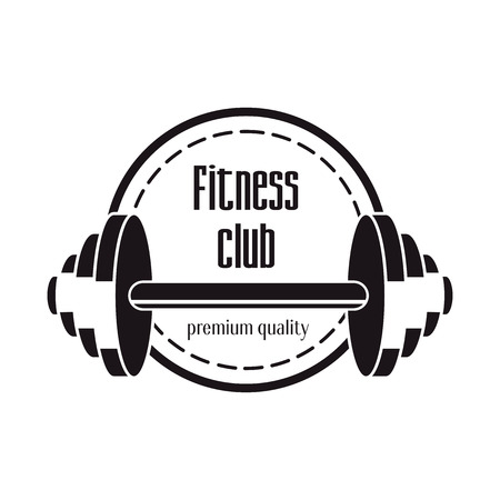 sport training: fitness club design concept with barbell Illustration