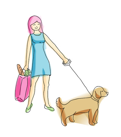 dog walking: Young pretty blond walking with dog