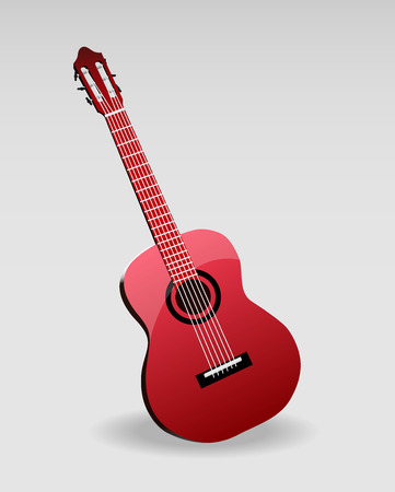 strum: acoustic classic guitar vector illustration isolated on white background