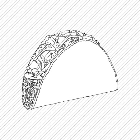 mexican food plate: Linear mexican Taco vector illustration on white background Illustration