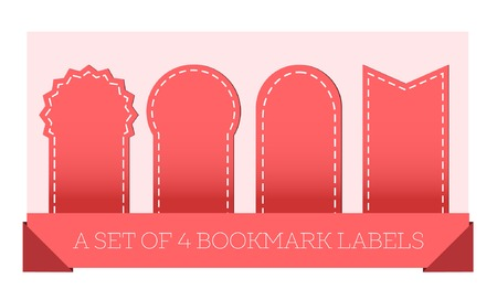 Red ribbons and bookmark labels Set on light background