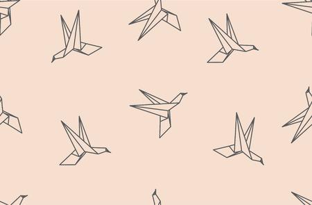 origami bird: Japanese origami bird seamless pattern