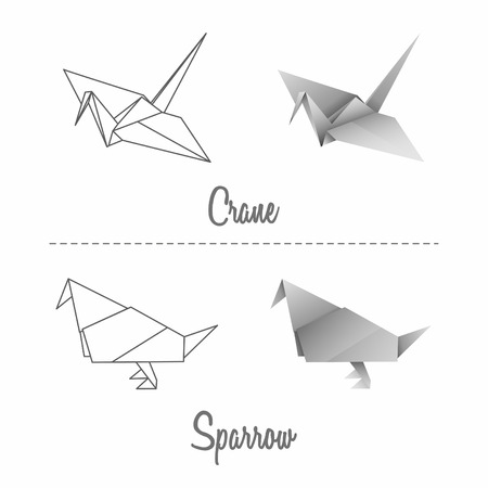 sparrow: Set of vector japanese paper origami birds - crane and sparrow