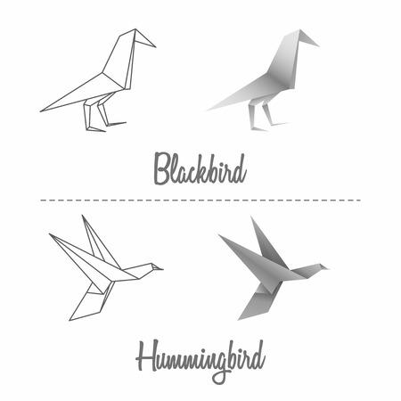 blackbird: Kos papieru i zestaw koliber w stylu japońskim origami Ilustracja