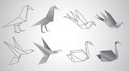 origami paper: Origami vector set, white