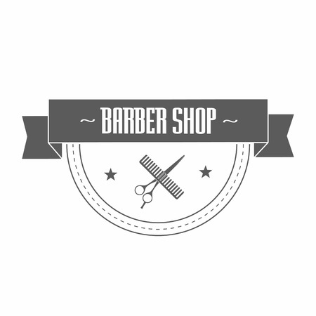 haircutting: Vintage barbershop in gray color. In it hairdressing scissors wrapped in a ribbon. On the tape label classic barber shop. Vector illustration.