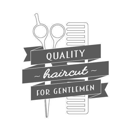 barbershop. In it hairdressing scissors and comb wrapped in a ribbon. On the tape label quality haircut for gentlemen. Vector illustration.