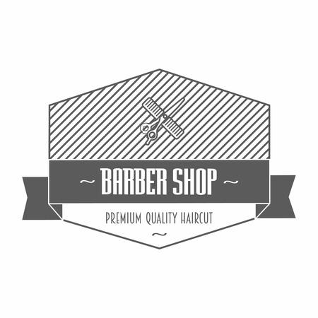 barbero: Peluquer�a de caballeros emblemas o etiquetas que representan un peine y las tijeras con el texto, uno en un escudo y el otro con una bandera de la cinta y la guirnalda, ilustraci�n vectorial en blanco