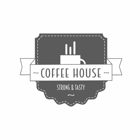coffee house: Coffee house - strong and tasty - vector design template