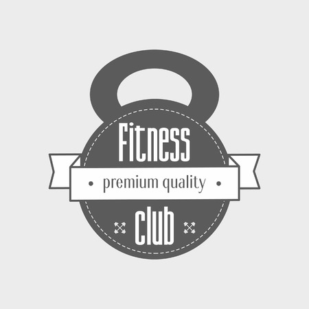 titling: kettlebell and titling Fitness club - premium quality vector design template