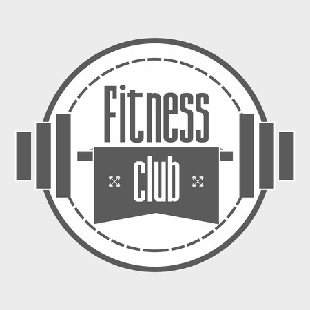 titling: barbell and titling Fitness Club vector design template