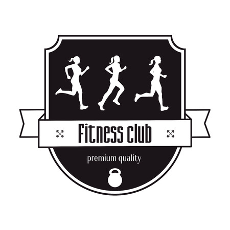 fitness center: Fitness Center vintage concept, emblem with three running girl, vector illustration, easy to edit Illustration