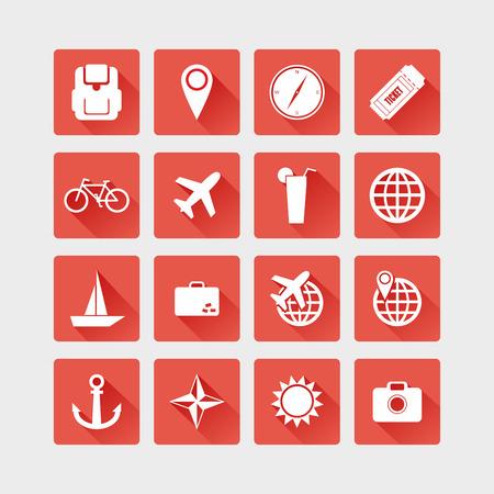 roadtrip: Travel icon set.  Vector flat illustration.