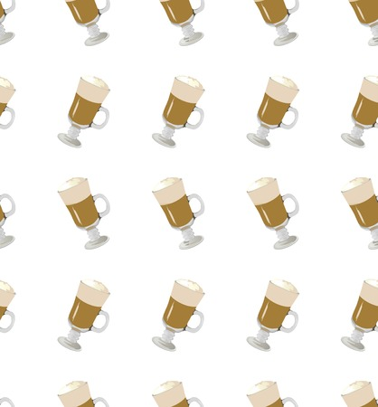 latte: coffee latte vector seamless pattern on white background