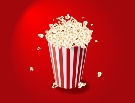 cinematograph: Vector illustration of Popcorn Bucket on red background