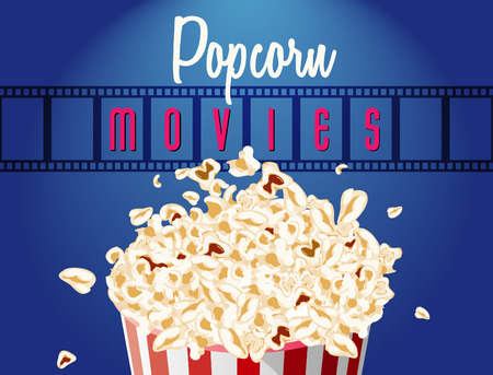 motion picture: movie film reel and popcorn cinematography concept. EPS10 Vector Illustration. Illustration