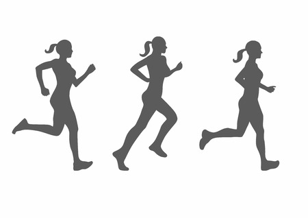 woman run: vector illustration of running woman silhouette