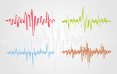 Set of color vector sound waves. Audio equalizer technology, pulse musical. Can be used in club, radio, pub, party, concerts, recitals or the audio technology advertising background.