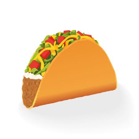 Single mexican Taco vector illustration