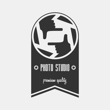 photo studio logo template. Can be used for background on business cards or poster, design element, print on textiles etc.