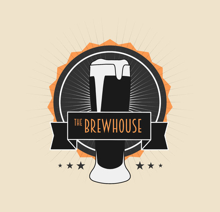 brew house: Brew House Vintage icon on light background For Beer House, Brewing Company, Beer House, Pub, Bar. Can be used to design business cards, posters, posters, decorating shop windows and signage, print on T-shirts