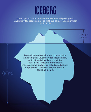 below: Vector flat iceberg concept illustration with infografic. Illustration