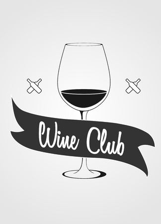 titling: Concept with wine glass and banner with wine club titling Illustration