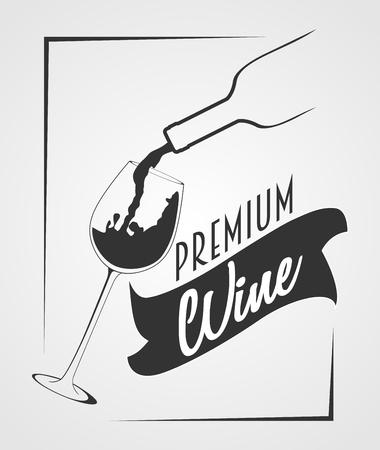 Premium wine. Wine bottle and wine glass silhouette Иллюстрация