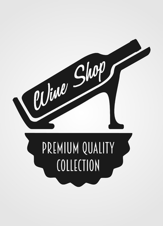 titling:  concept with wine bottle and titling Wine shop premium quality collection Illustration