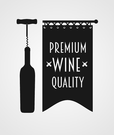 titling:  concept with wine bottle, corkscrew and banner with premium wine quality titling