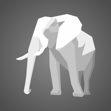 origami paper: geometric low  polygon vector illustration of elephant Illustration
