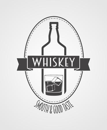 botella de whisky: cartel o logotipo con la botella de whisky y de vidrio