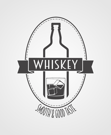 alcohol bottle: poster or logotype with whiskey bottle and glass