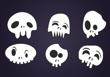 frightful: set of vector cartoon skulls