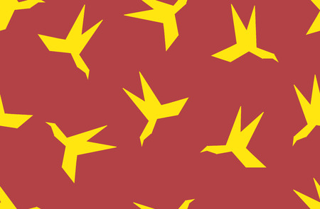 uccello origami: Seamless pattern silhouette of paper origami bird. Yellow hummingbird on red background. Vettoriali
