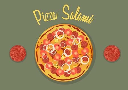 mozzarella: Italian Salami Pizza with tomatos, onion, pineapple and mozzarella Illustration