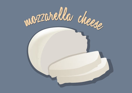 mozzarelle e formaggi: Italian mozzarella cheese. Vector illustration