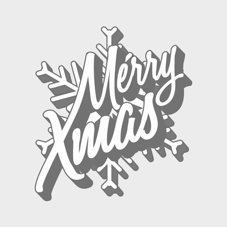 titling: Vector holiday logo concept with Merry Xmas titling and snowflake.