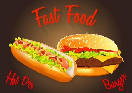 ファーストフードのベクトル図です。ハンバーガーとホットドッグ