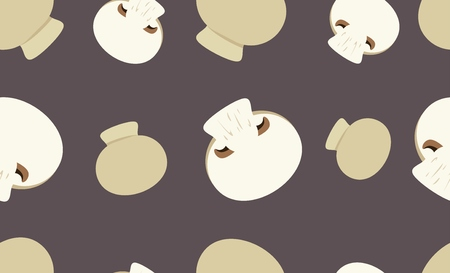 button mushroom: Seamless pattern with button mushrooms. Illustration